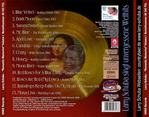 "CD Larry Schuba SOLO "" Romantic Memories"""